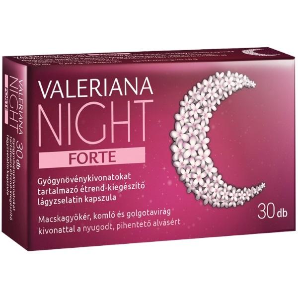 Valeriana Night Forte gyógynövénykivonatokat tartalmazó lágyzselatin kapszula